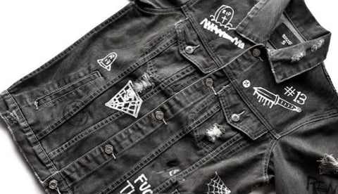 Graffiti Onyx Hearts Denim Jacket Black