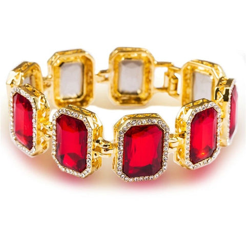 Iced Out 18K Gold Ruby Bracelet Red
