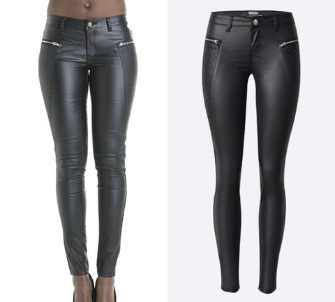 Slim Fit Onyx Hearts Femme Leather Pants