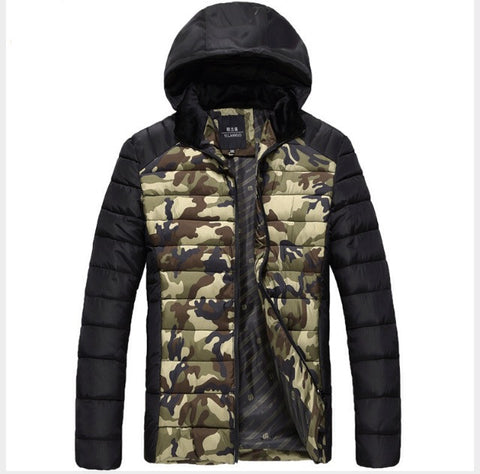 Hooded Camo Winter Jacket Green
