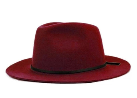 Wide Brim Fedora with Leather Band Wine