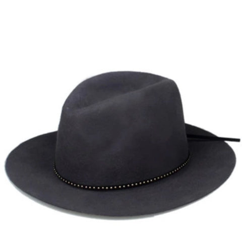 Classic Fedora with Leather Band Grey