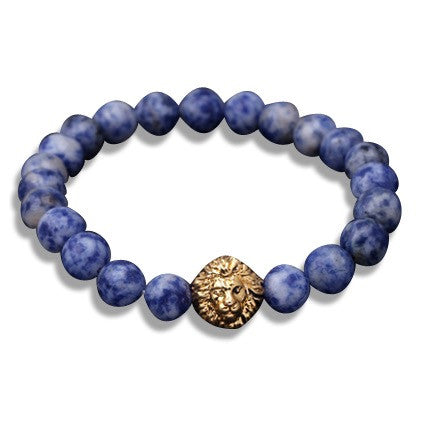 Gold Lion's Head Beaded Bracelet Light Blue