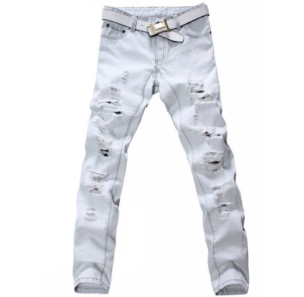 Classic Distressed White Denim Jeans