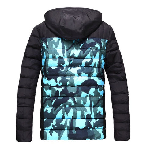Hooded Camo Winter Jacket Blue Back