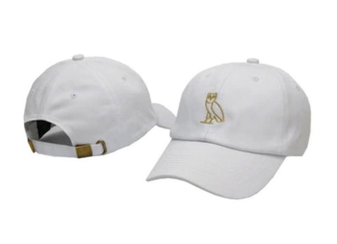 OVO Owl Dad Hat White Gold