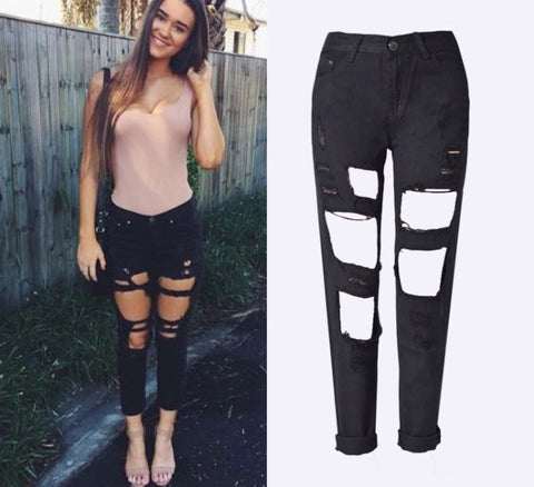 Onyx Hearts Femme Distressed Hole Black Jeans