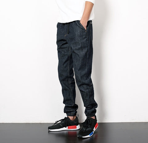 Casual Dark Blue Denim Joggers