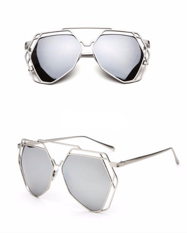 Street Fly Polygonal Mirrored Sunglasses Style 2