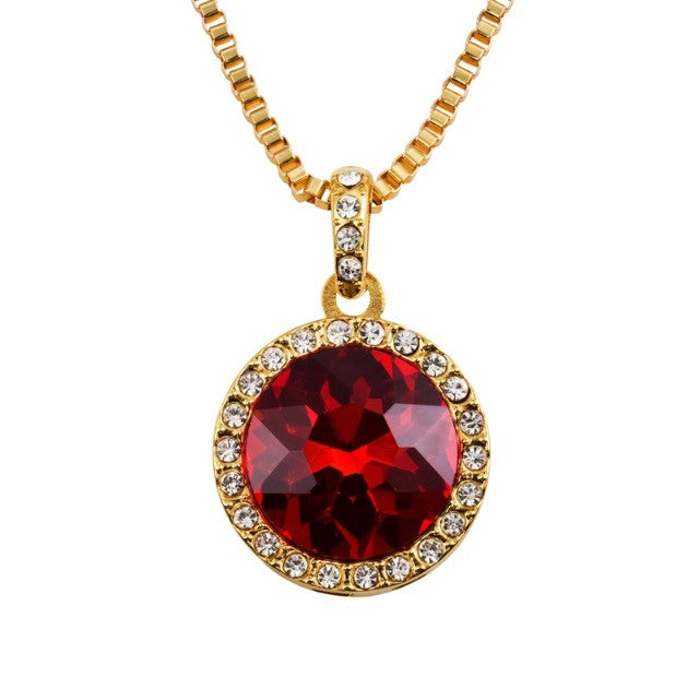 Red Circular Ruby Pendant & 18K Gold Chain