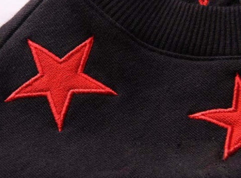 Star Bred Streetwear Sweatshirt Embroidery Closeup