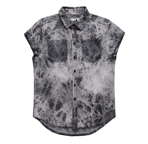 Denim Tie Dye Kanye West Style Shirt Black