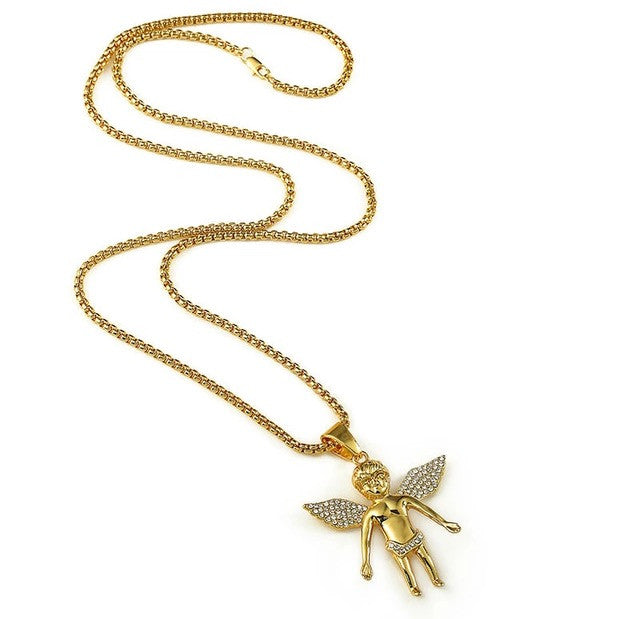 18K Gold Plated Cherub Pendant Necklace