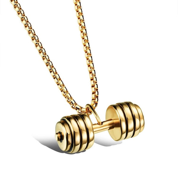 Dumbbell Pendant and Chain Gold