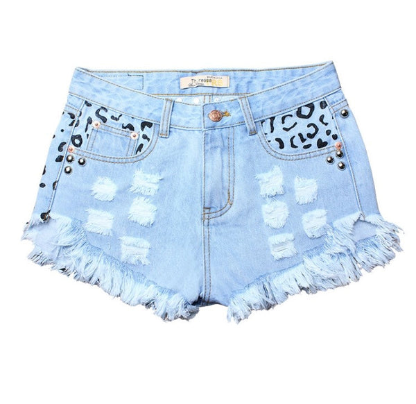 High Waisted Cheetah Rivet Shorts