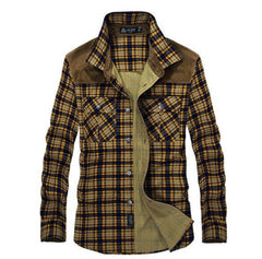 Plaid & Suede Button Up Shirt Yellow