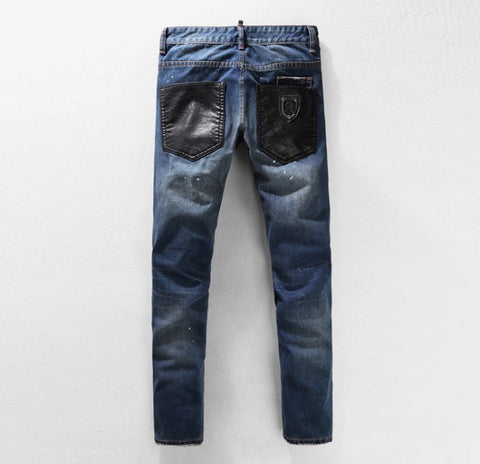 Leather Patched Zipper Denim Biker Jeans