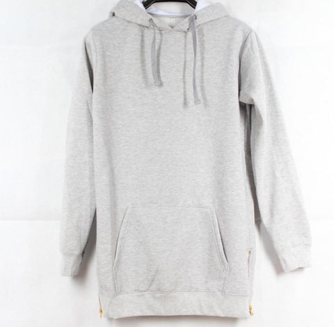 Extended Side Zipper Kanye Style Hoodie Grey