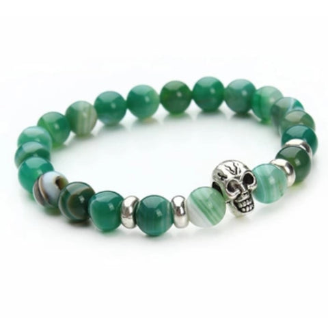 Beaded Onyx Hearts Skull Bracelets Green