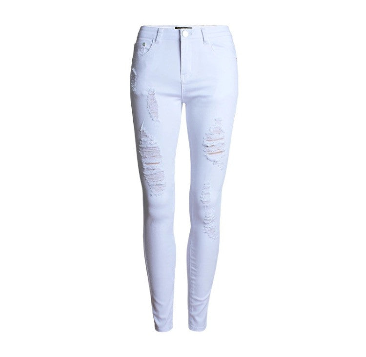 Slim Fit Onyx Hearts Femme Distressed White Pants