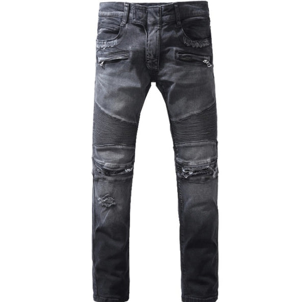 Black Torn Zipper Slim Denim Biker Jeans