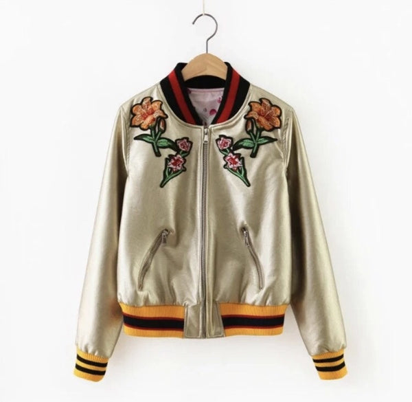 Flower Power Satin Bomber Gold