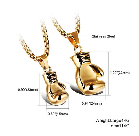 Gold Boxing Glove Necklace Sizing