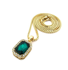 Gold 30in Chain with Ruby Pendant Closeup Green