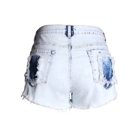 Femme Denim High Waisted Acid Wash Cut Off Shorts