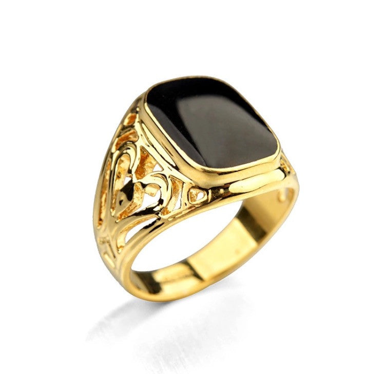 El Duce Onyx Ring Gold