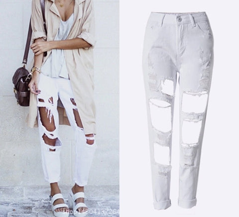 Onyx Hearts Femme Distressed Hole White Jeans