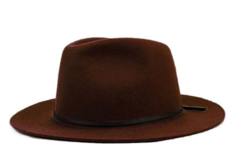 Wide Brim Fedora with Leather Band Coffee