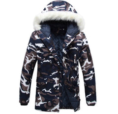 Fur Collar Blue Camo Parka