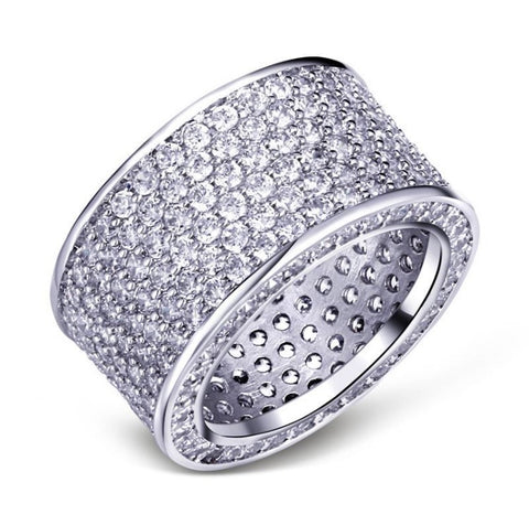 Platinum Blinged Out Statement Ring
