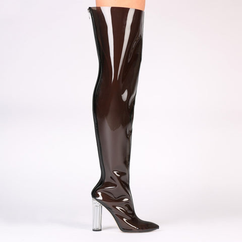 Brylee Clear Perspex Pointed Toe Long Boots in Smoke