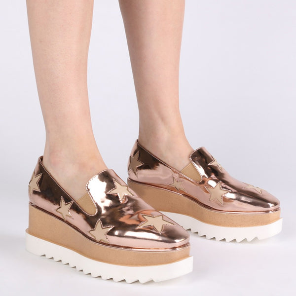 LAYLA FLATFORM STAR PUMPS IN ROSE GOLD METALLIC