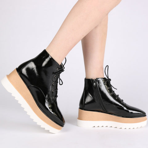Patent Stacked Flatforms Black