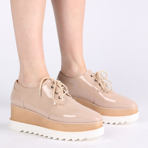 High Shine Patent Flatforms Nude