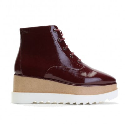 Patent Stacked Flatforms Burgundy
