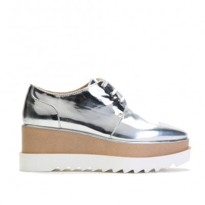 High Shine Patent Flatforms Metallic Silver