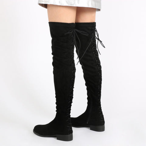 Flat Over Knee Boots Black
