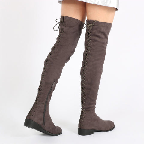 Flat Lace Up Over Knee Boots Dark Grey