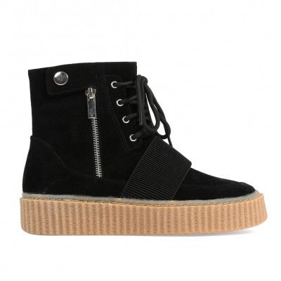 Zipped Hi Top Creepers Black Suede