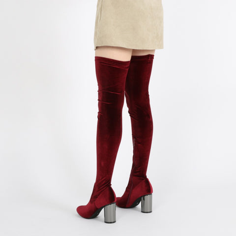 ELLIS MIRRORED HEEL LONG BOOTS IN BORDEAUX VELVET