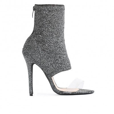 ISHANI SOCK FIT PERSPEX STRAP SHOE BOOT IN GREY SHIMMER