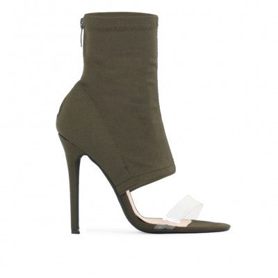 ISHANI SOCK FIT PERSPEX STRAP SHOE BOOT IN KHAKI STRETCH