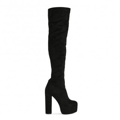Disco Over Knee Boots Black Suede