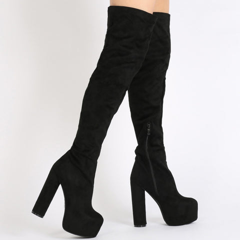 Black Faux Suede Platform Over The Knee Boots