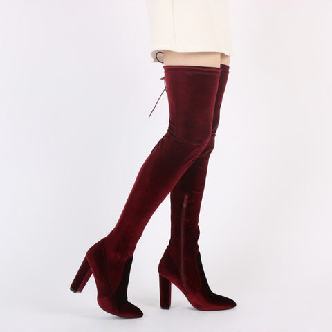 Velvet Luxe Thigh High Boots Red Wine