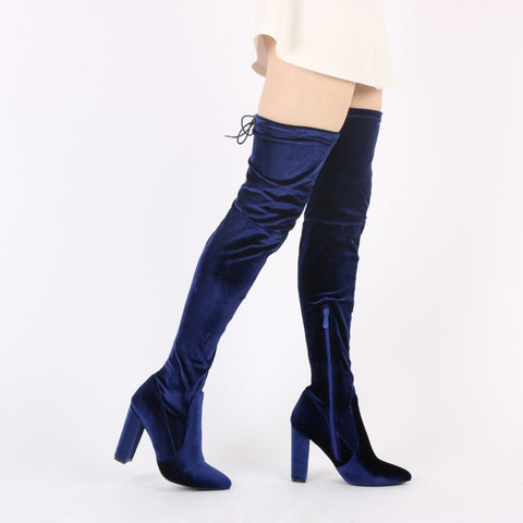 Velvet Luxe Thigh High Boots Navy